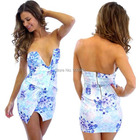 Cheap 2015 Newest Limited Rushed Natural Denim Tropical Women Dress Sexy Lady Flower Plunge Bandeau Dress Wrap Bodycon Slim Club Dress