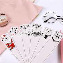 30pcs/box Creative White bear Bookmarks Marker Stationery bookmarks book holder message card school supplies papelaria 30pcs flowers birds bookmarks paper page notes label message card book marker school supplies stationery