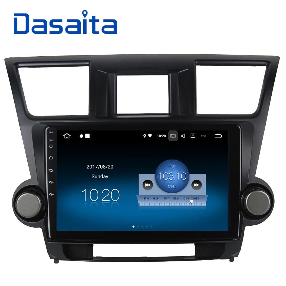 Dasaita 10.2 Android 7.1 Voiture Lecteur GPS Navi pour Toyota Highlander 2009-2012 avec 2G + 16G Quad Core stéréo Radio Multimédia HDMI