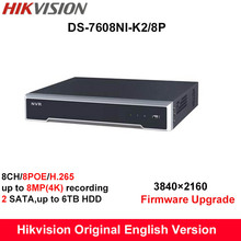 In stock Hikvision H.265 English NVR DS-7608NI-K2/8P 2SATA 8 POE ports 8ch NVR support 8MP third-party camera, plug & play NVR