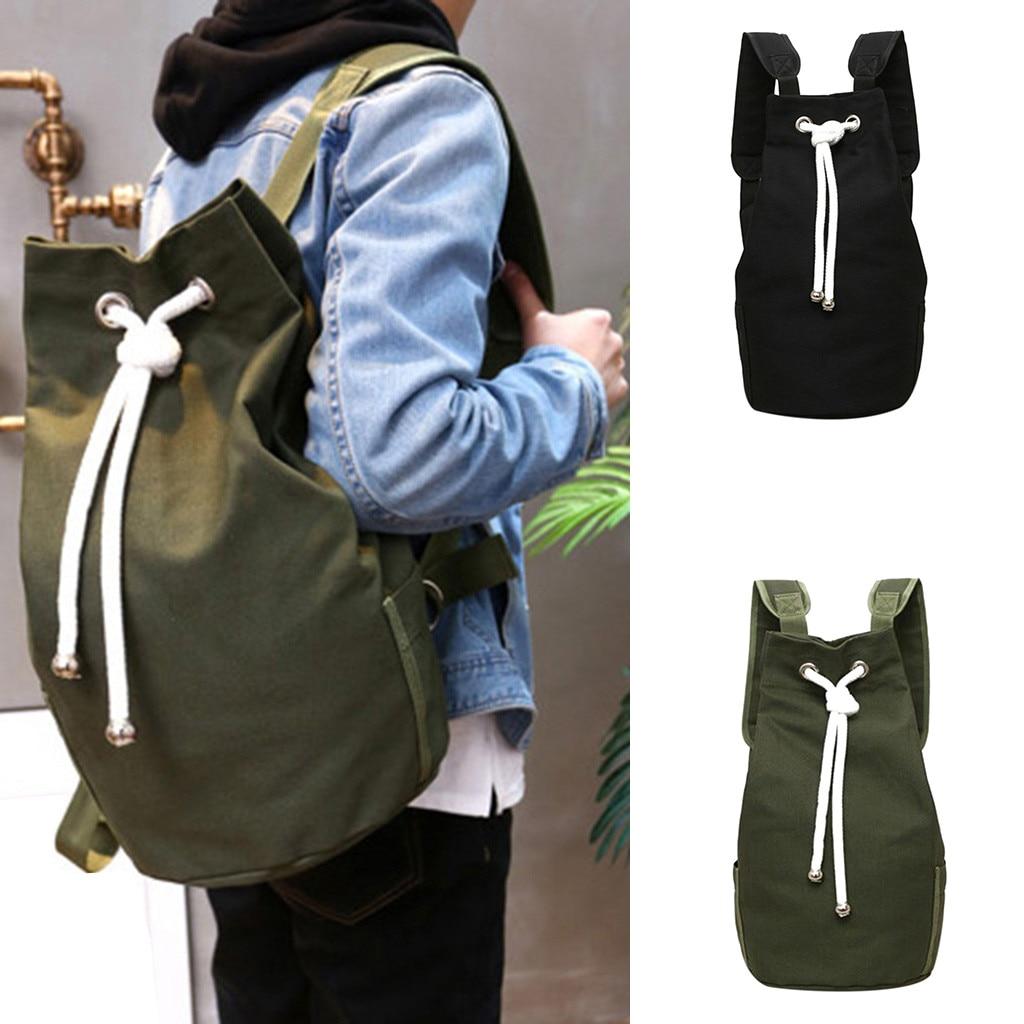 2019 New Men's Casual Canvas Backpack Large Capacity Bucket Backpack Drawstring Backpack Mochilas Feminina Bagpack Mochila Mujer