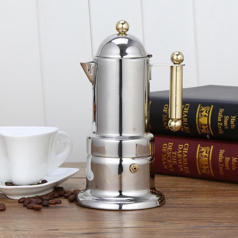 200 мл 4 чашки кофейник из нержавеющей стали Moka Кофеварка чайник фильтр автоматическая кофемашина Эспрессо