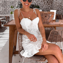 Cuerly 2019 summer lace crochet sundress party club ruffle cotton embroidery mini dress female vestidos L5