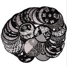 1 pc hehe série arte do prego placas de carimbo placa de imagem gato bonito gatos patas tricô bola redonda metal arte do prego modelo placa 5.5cm