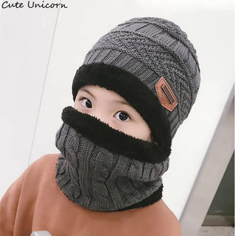 parent child 2pcs fashion Winter Beanies Knitted Hat and scarf for 3-14 years old girls and boys students Hats Caps Hat