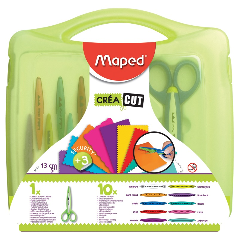 Maped Creative Scissors 10-Blade Pattern Paper-Cutting Scissors Kit With Case Great Kids Gift
