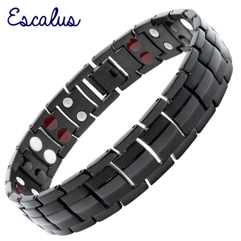 f98ad53476f4 Escalus hombres de moda magnético de plata de la joyería de la pulsera de  Color para los hombres 4in1 Joyas de acero inoxidable germanio encanto  nuevo ...