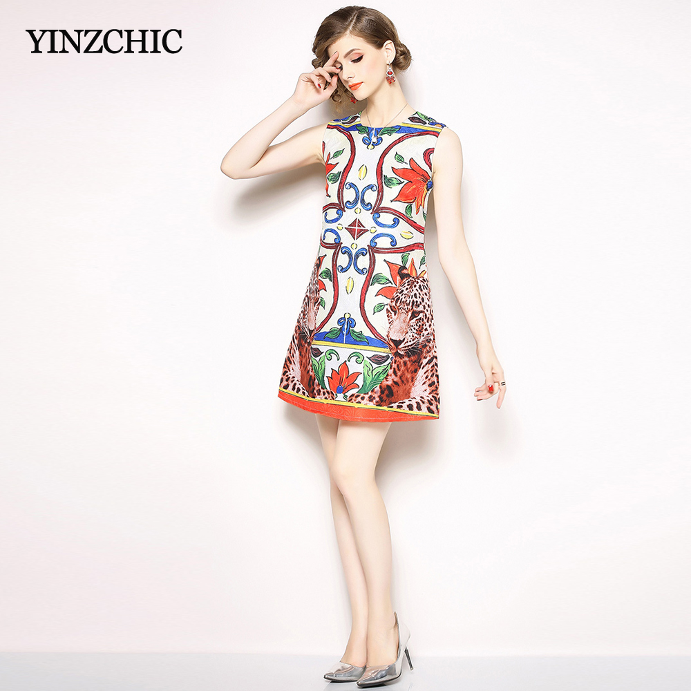 Chic Printed Womans Summer Mini Dress O neck Sleeveless Female Casual Straight Dress Elegant Ladies Short