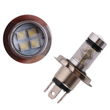 2pcs H4 100W 2828 LED Car Fog Driving DRL Headlight Tail Turn Signal Brake Parking Lamp Bulb Super Bright White 12V-24V
