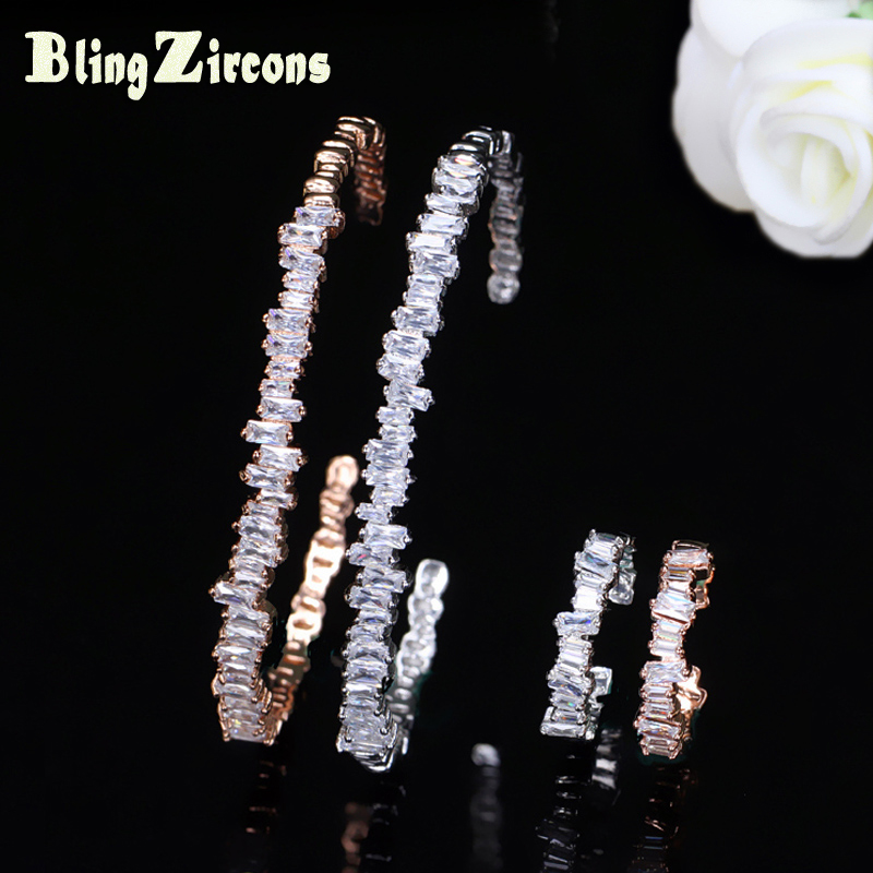 BeaQueen Rose Gold And Silver Color Baguette Cubic Zircon Cuff Bangle Ring Sets Men Women Bracelet Finger Jewelry Gift JS100