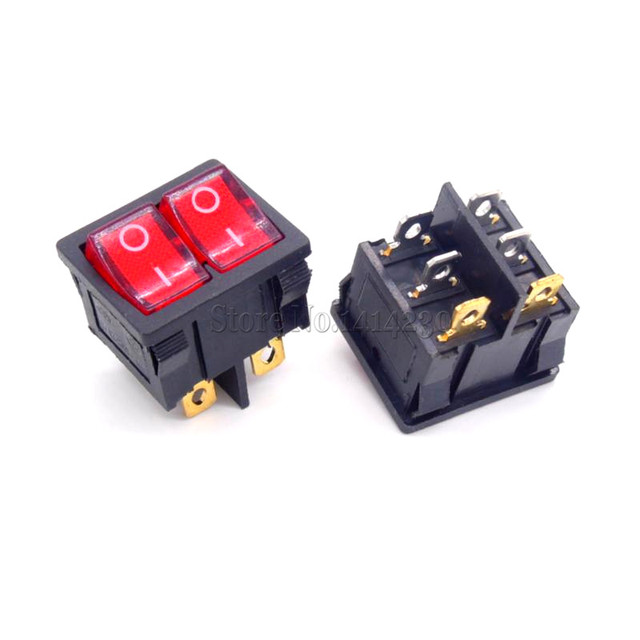 Aliexpress com buy kcd5 21x24mm with red light rocker switches on two way on off switch Five Way Switch Two Switch Wiring Diagram