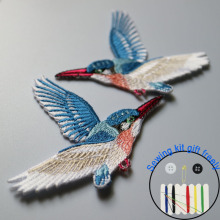 2pc/set high quality birds ironing embroidery patches iron on embroidered parches appliques for clothing para la ropa