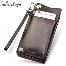 DICIHAYA High Capacity Card Holder Wallet Men Genuine Leather Brand Male Purse Long Coin Phone Bag For iPhone