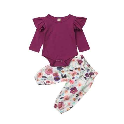 91c893e18 Newborn Infant Baby Girl Clothes Sets Jumpsuit Bodysuit Tops Long Sleeve  Floral Pant Casual Cute Outfit