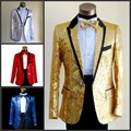 2017 Sequins suit Wholesale Men's groom suit red tuxedo jacket plus size clothing set bridegroom suit set fashion blazer prom