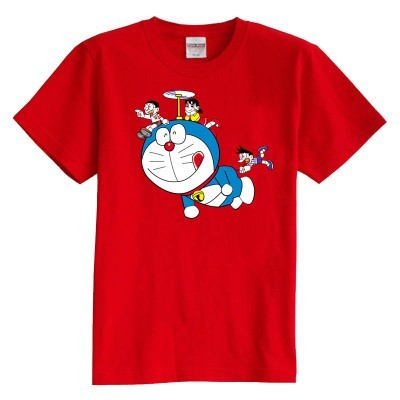 Children's T shirt summer short sleeve 100% cotton girl boy kids t shirt doramon Viking pattern t shirt