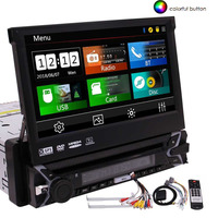Single DIN 1 DIN Digital Motorized 7 Inch Capacitive Touch Screen Car Stereo DVD Player Bluetooth GPS Navigation Touch Screen