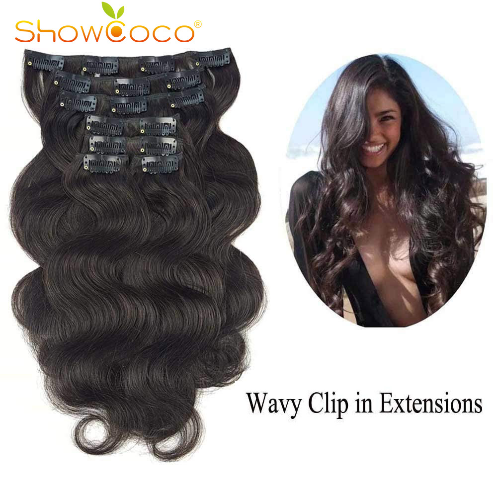 ShowCoco Clip In Human Hair Extensions Body Wave 7 Pieces Set Double Wefts Korean Clip On Hair Extension 14