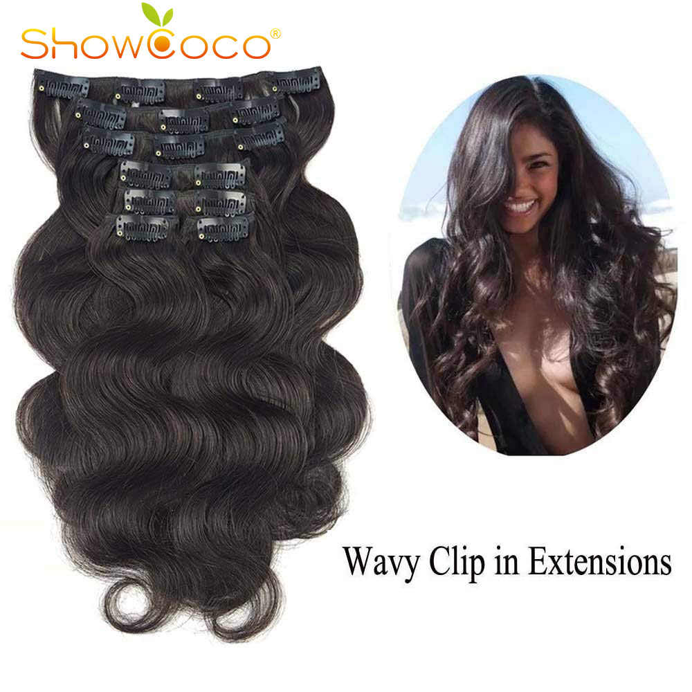 "ShowCoco Clip in Human Hair Extensions Body Wave 7 pieces set Double Wefts Korean Clip on Hair Extension 14""-24"""