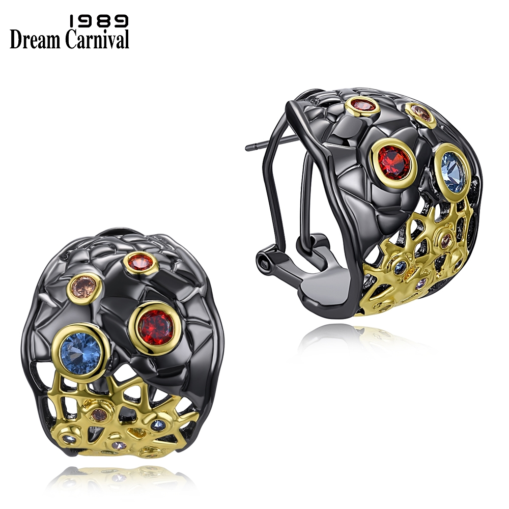 DreamCarnival 1989 New Special Design Mixed Colors CZ Stud Earrings for Women Black Gold Color Gothic Jewelry Pendientes WE3782