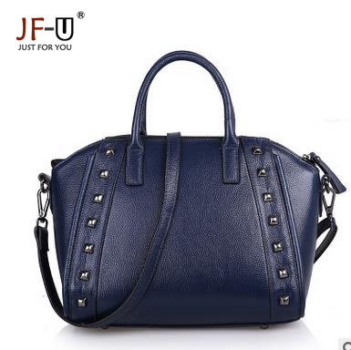 ФОТО JF-U Fashion Brand Genuine Leather Handbags Women Luxury Handbags Women Bags Designer Rivet Ladies Hand Bags Bolsas Femininas