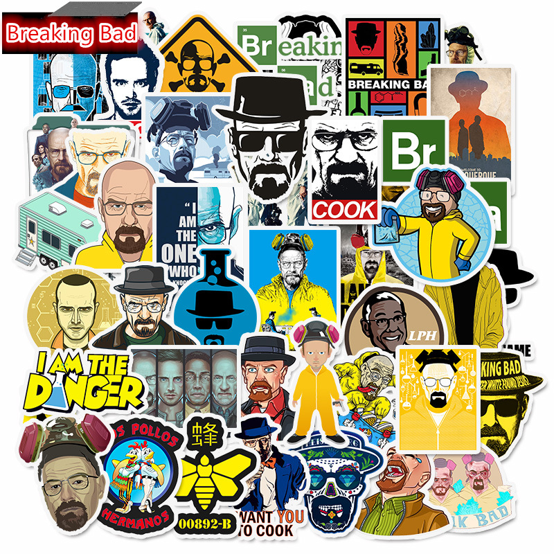 50Pcs American TV Series Breaking Bad Stickers For Skateboard Surfboard Decoration Laptop IPad Suitcases Luggage Bicycle Sticker