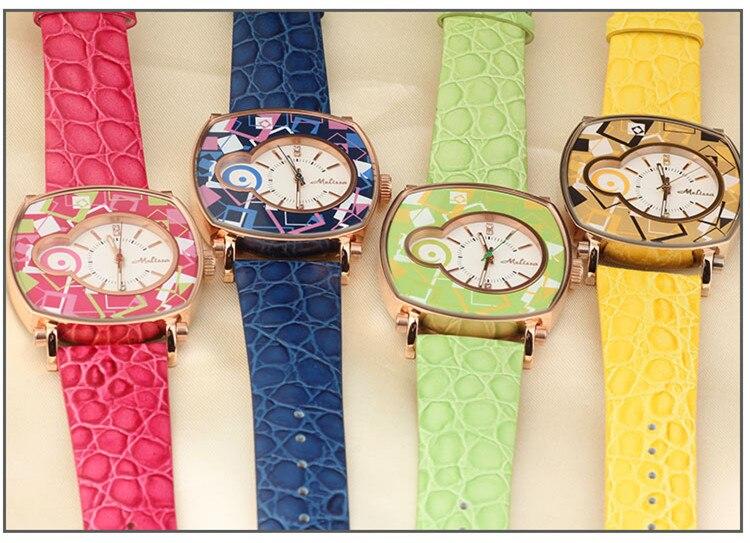 Reloj de pulsera de cuero neutro para mujer con patrones geométricos de nuevo diseñador de melisa Vintage cuadrado Feminino Montre F12190 - 6
