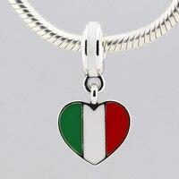 925 فضة سحر يناسب باندورا سوار إيطاليا علم القلب فضة استرخى مع الأخضر الأبيض والأحمر المينا للنساء