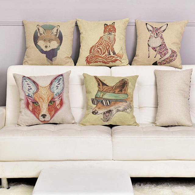 Cojines Animal Print.Us 4 64 5 Off Animal Print Fox Cushion Covers Home Sofa Throw Pillow Cases Decorative Cotton Linen Fundas Cojines For Sofa Car Seat Chair In Cushion