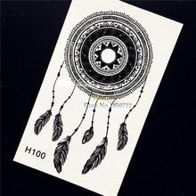 1PC Beauty Makeup Black Ink Henna Tattoo Women Body Art Dreamcatcher Feather Decals Waterproof Temporary Tattoo Stickers HH100