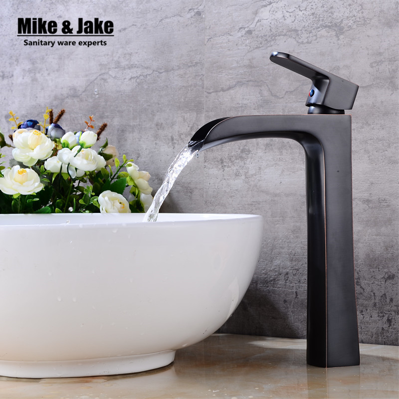 Bathroom high waterfall basin faucet tall stand basin mixer black oil brushed basin faucet sink Mixer Tap bathroom faucet FH0001 manitobah унты tall grain mukluk женск 11 black черный