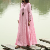 2016 Chinese Traditional Cloth Spring Women Dress Long Sleeve Maxi Dress Mandarin Collar 2 Color Long