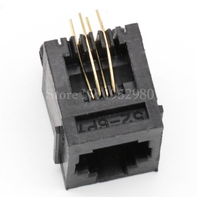 20 teile/los RJ11 Jack Netzwerk Telefon Buchse 6P4C Schwarz 4 Pins Gold 180 Grad mit Krempe