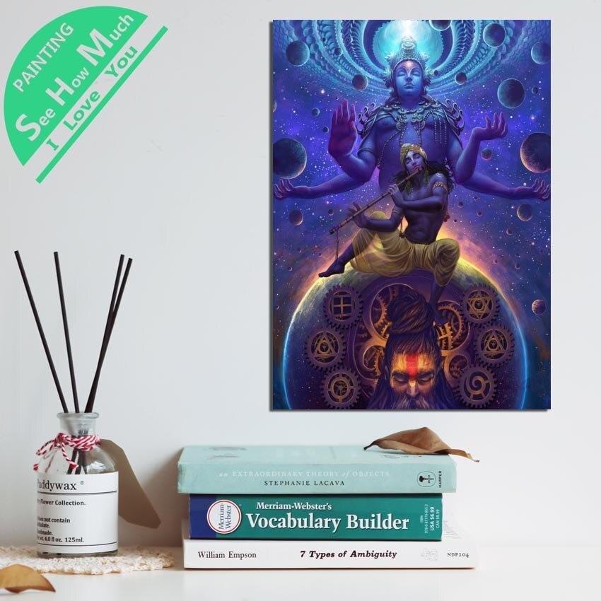 1 Шт. Брахма Вишну Шива Бог HD Печатные Холст Wall Art Плакаты и Принты Плакат Живопись Оформление