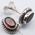Silver RED GARNET Gem GIRLS' JEWELRY Studs Earrings 0.9 CM NEW ITEM