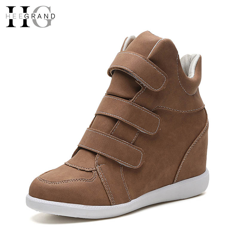 цены  HEE GRAND Hook & Loop Women Boots Height Increasing Med Heels New Shoes Woman High Quality Casual Hot Sale Boots Woman XWX4923
