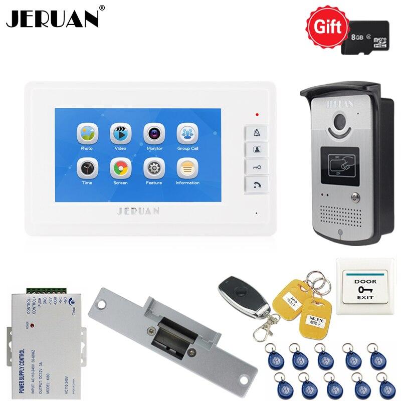 JERUAN nouveau kit de système d'interphone vidéo/enregistrement vidéo avec écran LCD de 7 pouces + caméra IR d'accès RFID
