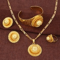 Ethnic Traditional Indian Women 24k Yellow Real Solid Gold GF Necklace Set Bollywood Jewelry earring bangle OPEN RINGS