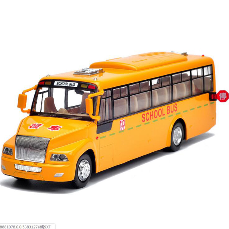 23.8CM 1:50 Scale Diecast Train School Bus Car Truck Model Vehicle Model Pull Back For Collection With Sound and Light Gift