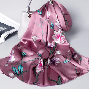 Image 4 - 100% real silk scarf women 2020 new fashion shawl and wrap high quality soft long neck scarf for lady elegant floral print scarf