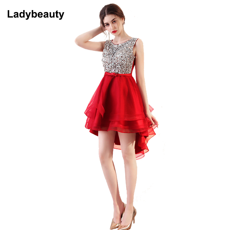 Ladybeauty 2018 Sexy Short evening dress Sleeveless Short Front Back Long Sequined Evening Dress Bride Banquet Formal Party Gown