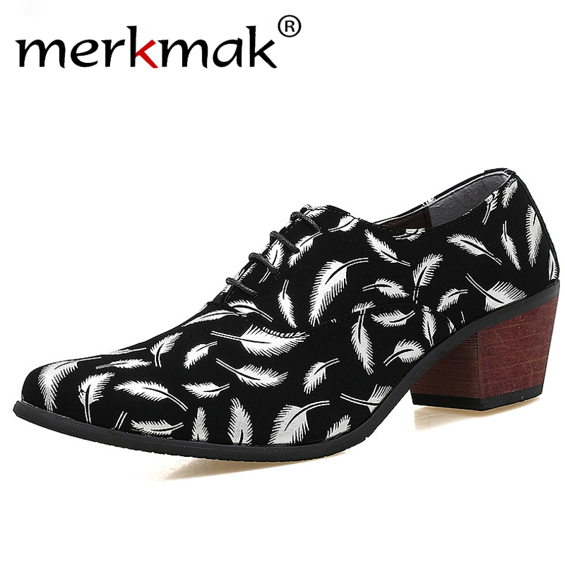 Merkmak  Men Formal Oxford Shoes Fashion Leather Pointed Toe High Heels Wedding Groom Print Feather Heighten Shoes Party