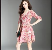 Шелк Платья для женщин Для женщин печати розовый платье Короткое Элегантный V Средства ухода за кожей Шеи натуральный Ткань высокое качеств