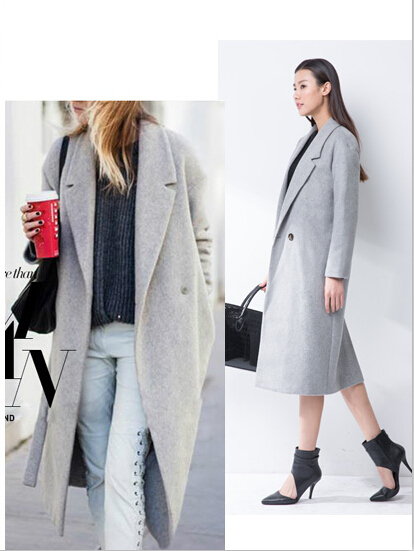 2014Hollywood style new winter women's designer grey wool coats in ...