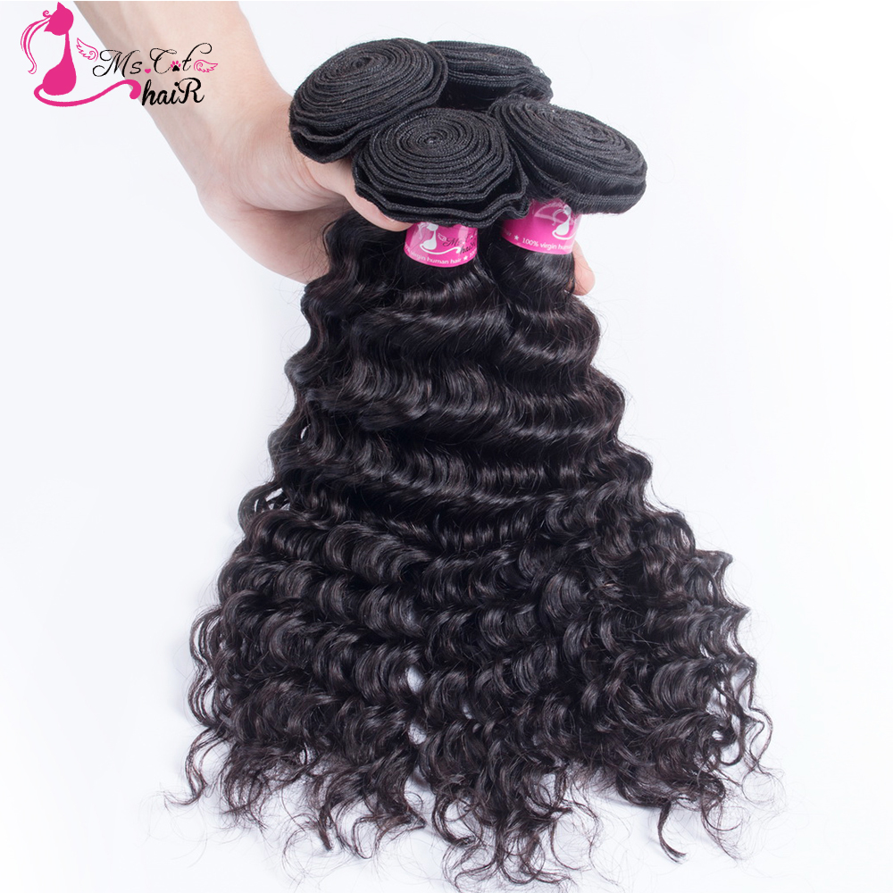 Ms Cat Hair 4PCS/lot Weft Deep Wave Brazilian Hair Weave Bundles Remy Hair Weaving 100% Human Hair Extension 1B Natural Black