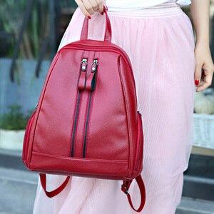 Image 2 - Mulheres Soft PU Mochilas De Couro Do Vintage Bolsa de Ombro Feminino das Mulheres Viagem Bagpack Mochilas Mochilas Escolares Para Meninas Preppy XA251H