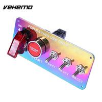 Vehemo Rainbow Push Button Toggle Racing Car Ignition Switch Panel Universal Power Off Switch Engine Start Carbon
