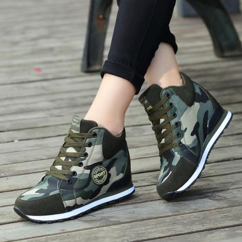 Tangnest Women Warm Ankle Boots Fashion Lace-up Camouflage Bootie Women Height Increasing Footwear Sneakers Booten XWX7133