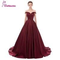 Wine Red Elegant Evening Dress Long 2017 Satin V Neck Prom Party Dresses Evening Gown Abendkleider