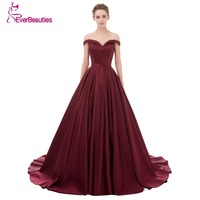 Wine Red Elegant Evening Dress Long 2017 Satin V Neck Prom Party Dresses Evening Gown Abendkleider